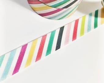 Bright Colorful Diagonal Striped Pink Fuchsia Yellow Green Black Teal Multi Colored Stripes Washi Tape 11 yards 10 meters 15mm width