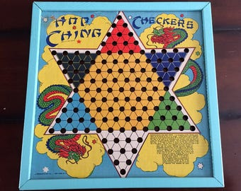 Hop Ching Chinese Checkers Board Framed Art Rustic Game Room Kids Room Decor
