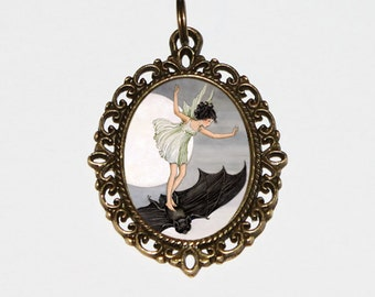 Bat Fairy Necklace, Moon, Gothic Jewelry, Fantasy, Folklore, Bronze Oval Pendant