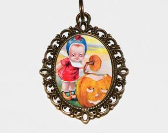 Halloween Girl Necklace, Pumpkin Jewelry, Spooky, Jack O Lantern, Oddities, Bronze Oval Pendant