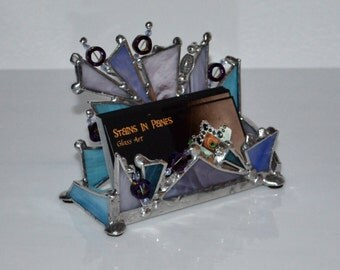 Business Card Holder - Women - Feminine - Fun - Gift - Custom - Counter Top - Display - Stained Glass - Designed For Your Card - Display