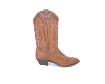 Brown Cowboy Boots. 9. Vintage 90s Leather Cowgirl Boots. Abilene Boots. Made in the USA