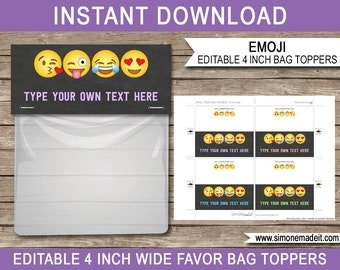 Emoji Favor Bag Toppers - Emoji Party Favors - Emoji Birthday Party Printables - 4 inches wide - INSTANT DOWNLOAD with EDITABLE text