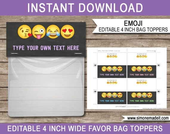 Emoji Funny Party Treat Bag Toppers