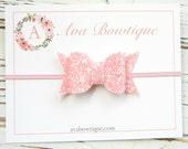 Pink Glitter Bow Headband - Baby Bow Headband - Glitter Bow Headband - Pink Bow Headband - Pink Glitter Headband