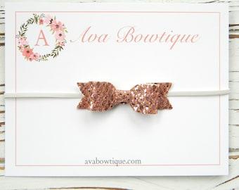 Rose Gold Bow Headband - Baby Bow Headband - Glitter Bow Headband - Gold Glitter Bow Headband - Newborn Bow Headband