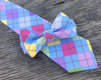 pastel bow tie, spring bowtie, easter argyle tie, easter matching ties, mens easter tie, mens pastel tie, father and son ties