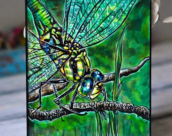 Handpainted Dragonfly / India Ink / Insect Painting / Colorful Wall Art / Spring Decor / Cute Bug Inking / Creature Drawing / Ready to Hang