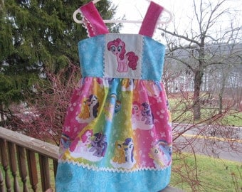 Girls party dress, Pony Birthday Dress, protriate dress, availabe to order 12mos, 18mos 2T,3T,4T,5t