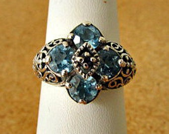 vintage 80s blue topaz and sapphire sterling filigree ring size 7 flower design  free shipping
