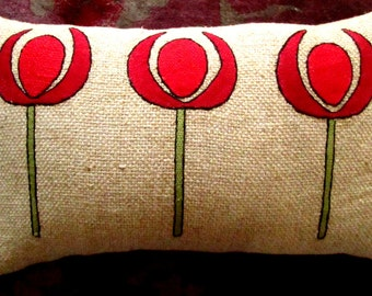 Hand Embroidered Arts & Crafts, Craftsman Burlap Pillow