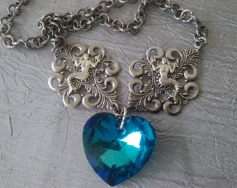 Filigree Mermaid and Swarovski Crystal Necklace