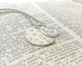 Love you to the moon and back, hand stamped love you to the moon and back, atara and moon jewelry