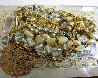 JOAN of ARC rosary bead antique assemblage multi strand bracelet