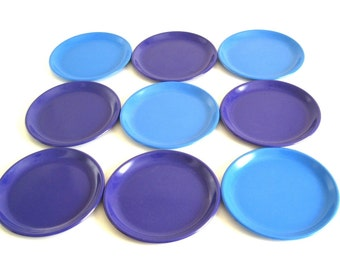"Zak Designs Plates Plastic Melamine Solid Color Purple & Blue 8.25"" Luncheon or Salad Plate 1990s"