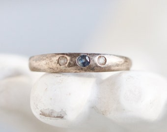 Dainty Simple Ring Band - Sterling Silver Ring with blue stone Size 6.5