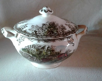 Transferware Sugar Bowl Jam Pot Bowl Made in England