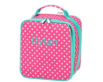 Personalized Kids Pink Lunch box Dottie Print bag Girl monogram