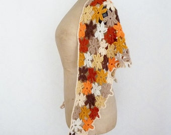 Flower scarf triangle shawl crochet floral scarf