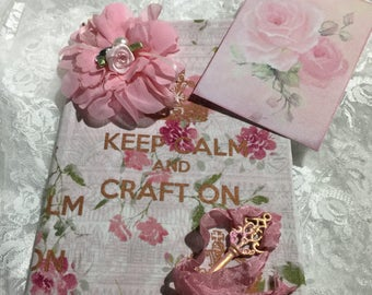 Shabby Chic Journal Keep Calm And Craft On With Matching Book Mark, Diary, NoteBook, Reminder Book, Gift Item