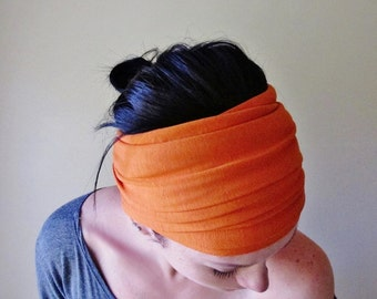 Orange Head Scarf - Pumpkin Jersey Hair Wrap - Extra Wide Bohemian Headband - Boho Hair Accessories - Yoga Hair Accessories