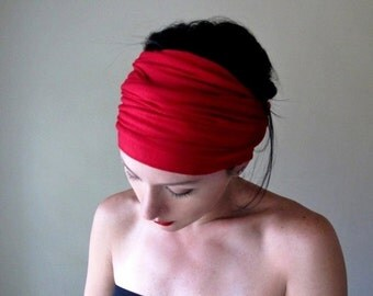RED Hair Wrap - Extra Wide Jersey Headband - Jewel Tone Head Scarf - Womens Hair Accessory - Boho Workout Accessories - Yoga Headband