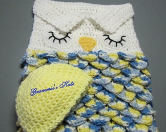 Yellow, blue and white owl baby cocoon and beanie