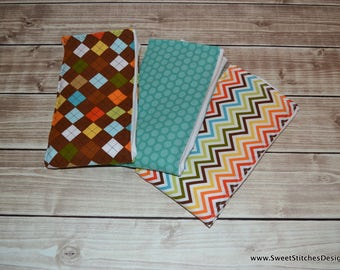 Baby Burp Cloths - Boutique Style Argyle Chevron Dot Burp Cloth Set - Sweet Admirer