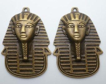 "2pcs-2"" Egyptian pharaoh charm pendant-antique brass tone charm"