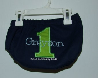 Personalized Birthday Navy Diaper Cover with Green Number