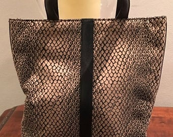 SPRING CLEANING SALE Lance Leather and Canvas Animal Print Small Tote Handbag in Creme and Black