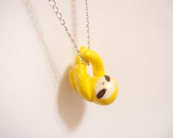 Miniature colorful sloth necklace