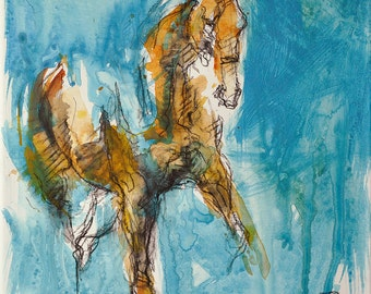 Horse Art, Animal, Modern & Contemporary Original Fine Art, Watercolor, Acrylic, and Black Chalk Painting of a Dressage Horse
