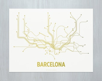 Barcelona Screen Print - White/Gold