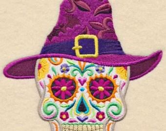 Calavera Skull Witch Mexican Culture Dia De Los Muertos Sugar Skull Embroidered Flour Sack Hand Towel