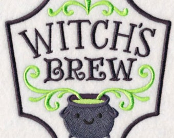 Witch's Witches Brew Embroidered Flour Sack Hand/Dish Towel