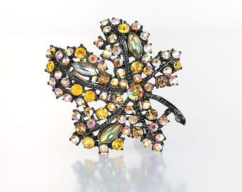Fire Opal Brooch, Citrine Rhinestone Leaf Brooch, signed Art, japanned metal 1960s jewelry