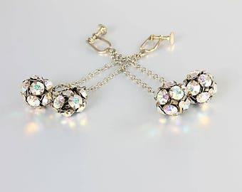 Rhinestone Ball Earrings, Aurora Borealis Mod Chandelier Earrings Art Deco style, Disco Ball Vintage jewelry