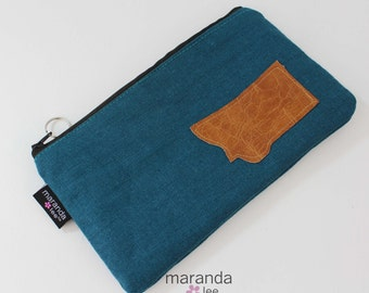 Zipper Pouch - Teal Linen with State Patch  -  Pencil Zipper Pouch Makeup Clutch