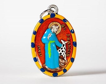St. Francis of Assisi Medal Hand-Painted, Imported from Italy