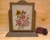 Vintage pansy needlepoint - framed needlepoint - floral needlepoint - country chic - pansy decor - framed floral picture - romantic bedroom