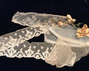 Antique Assorted Embroidered Silk and Cotton Net Lace Pieces  -Vintage Net Lace, Victorian Lace, Vintage Wedding Lace