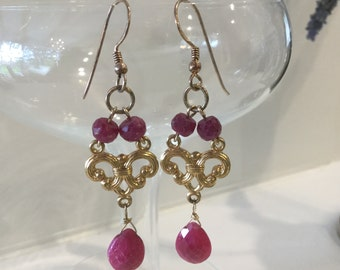 Ruby and Gold Filled Earrings