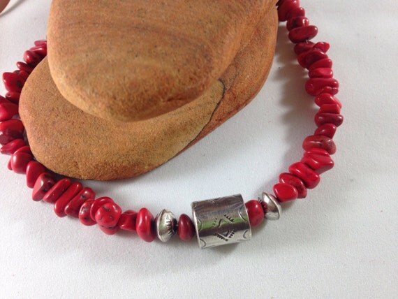 Handmade, Southwestern, Red Coral Beads, Sterling Silver Beads, Coral Necklace, Saddle Brown Leather