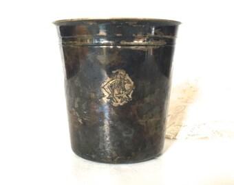 Vintage Silver plate monogramed mug / cup / Tumbler
