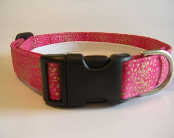 Handmade Cotton Dog Collar - Pink with Gold Dots
