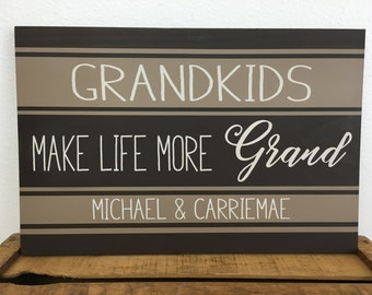 Custom Grandparents sign with vintage inspired feed sack - grain sack design - personalized  with names of grandchildren - Mother's Day