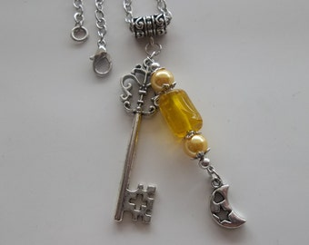 Yellow Glass Lampwork-Moon Charm and Key Necklace- Chain Link Necklace  (239)