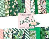 Digital Paper Summer Palm Banana Leaf Floral Tropical Patterns Preppy Retro Girly Theme perfect for 12 inch 300 dpi perfect to Print Planner