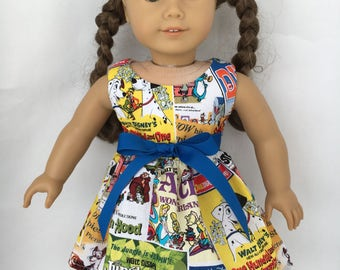 18 inch doll dress made of Disney movie poster fabric, made to fit 18 inch dolls such as American Girl and similar size dolls